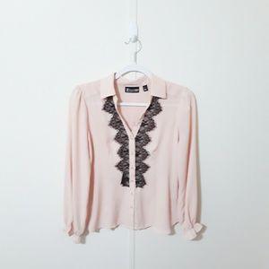 New York & Co light peach & black sheer blouse